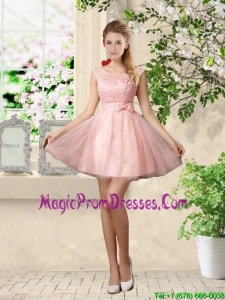 Sturning A Line Bateau Prom Gowns with Lace and Bowknot