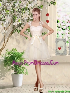 Suitable Straps Appliques and Belt Prom Gowns with Lace Up
