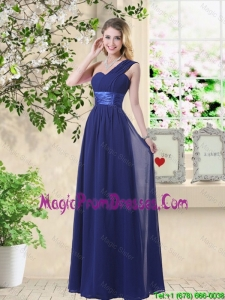 Cheap One Shoulder Floor Length Bridesmaid Dresses in Navy Blue