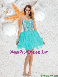 Cheap Sweetheart Beaded and Ruffles Prom Gowns in Aqua Blue