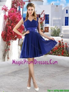 Discount V Neck Short Prom Gowns in Royal Blue
