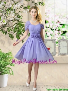 Elegant Hand Made Flowers Prom Gowns with Short Sleeves