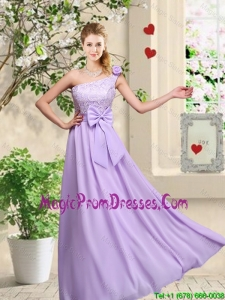Fashionable One Shoulder Prom Gowns with Hand Made Flowers
