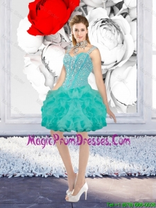 Sexy Ball Gown Beaded Prom Gowns with Straps in Turquoise
