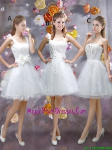 Sophisticated Appliques White Prom Gowns with Mini Length