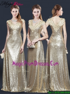 Perfect V Neck Sequins Prom Dresses in Champagne