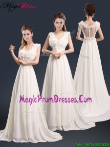Pretty V Neck Empire Prom Dresses with Appliques