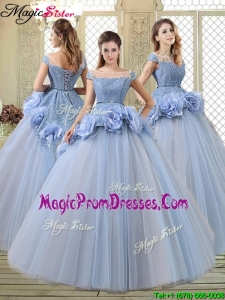 2016 Luxurious Bateau Lavender Prom Gowns with Hand Made Flowers