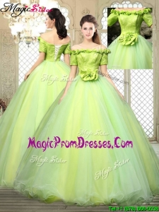 Spring Pretty Off the Shoulder Prom Dresses with Hand Made Flowers