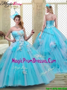 Summer Sweetheart Brush Train Prom Dresses in Baby Blue