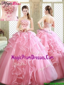 2016 Lovely Strapless Prom Dresses with Appliques and Ruffles