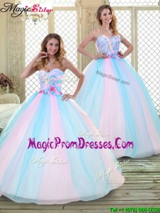 2016 Sweetheart Prom Dresses with Hand Made Flowers