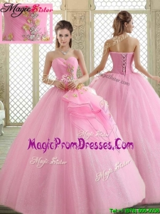 Hot Sale Sweetheart Rose Pink Prom Dresses with Beading