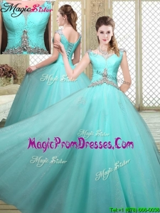 Luxurious Straps Beading Prom Dresses in Aqua Blue