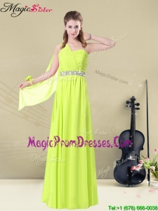 2016 Lovely One Shoulder Belt Prom Dresses in Yellow Green