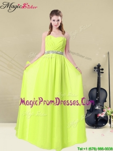 Spring Hot Sale Empire Sweetheart Belt Prom Dresses in Yellow Green