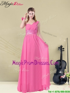 Sweet One Shoulder Ruching Bridesmaid Dresses with Belt