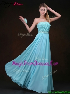 Fashionable Empire Strapless Prom Gowns with Appliques