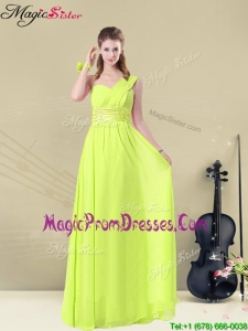Fashionable Empire Straps Belt Prom Gowns in Yellow Green