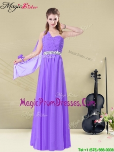 Fashionable One Shoulder Floor Length Prom Gowns with Belt