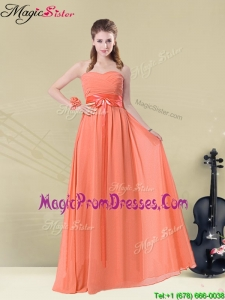 Inexpensive Empire Sweetheart Prom Gowns with Ruching and Belt for Fall