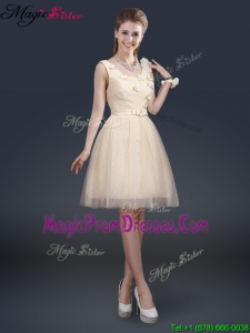 Lovely Scoop Prom Dresses with Appliques and Belt