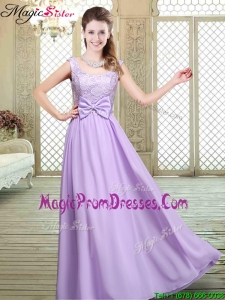 Pretty Scoop Bowknot Lavender Prom Dresses for Fall