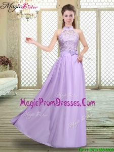 New Style High Neck Lace Lavender Prom Dresses