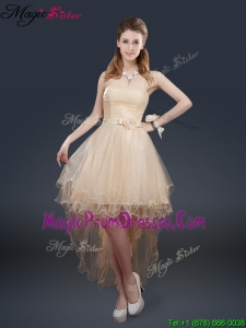Pretty 2016 High Low Prom Dresses with Belt for Fall
