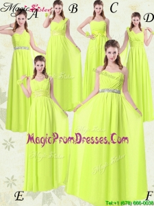 Pretty Empire Floor Length Belt Prom Dresses in Yellow Green for 2016 Spring