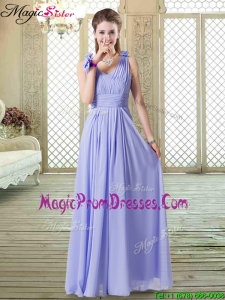 Romantic Empire Straps Prom Dresses in Lavender