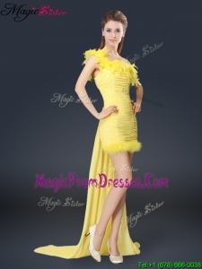 Sweet One Shoulder Watteau Train Prom Dresses in Yellow