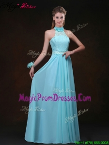 Hot Sale Empire Halter Top Prom Dresses with Lace