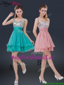 Wonderful Short Straps Paillette Prom Dresses for Summer