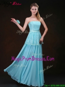 Affordable 2016 Strapless Floor Length Prom Dresses in Aqua Blue