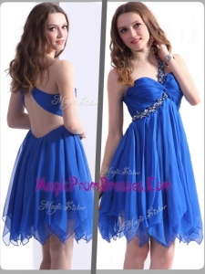 2016 Best One Shoulder Blue Short Prom Dresses with Beading