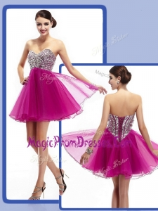2016 Perfect Sweetheart Fuchsia Short Prom Dresses with Beading