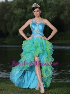 2016 Pretty One Shoulder Side Zipper High Low Prom Dress in Multi Color
