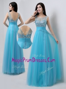 Amazing Scoop Empire Beading Prom Dresses in Baby Blue