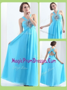Amazing Halter Top Criss Cross Prom Dresses with Beading