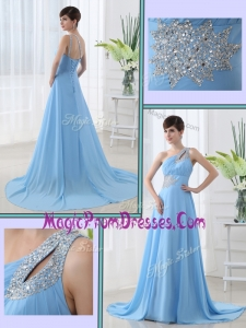 Amazing One Shoulder Brush Train Beading Prom Dress with Lace Up