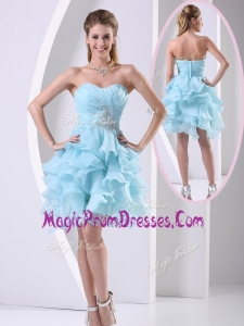 Beautiful Sweetheart Light Blue Prom Dress with Beading and Ruffles