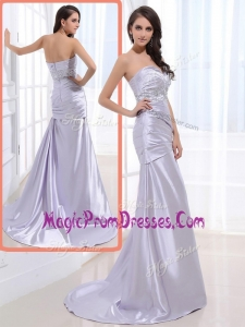 Famous Column Sweetheart Prom Dresses with Beading and Ruching