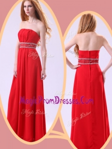 Famous Empire Strapless Red Prom Dresses with Beading