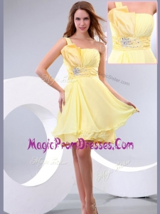 Famous Lovely Short One Shoulder Beading and Belt Prom Dress