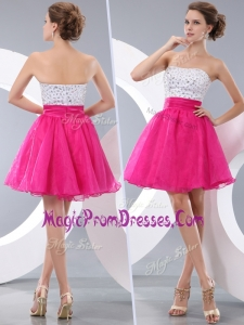 Famous Princess Strapless Short Prom Dresses with Beading
