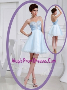 Famous Short Sweetheart Beading Prom Dress in Light Blue