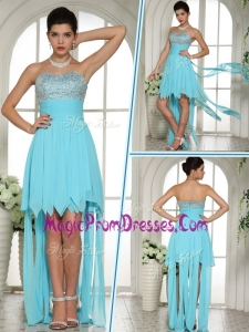 Famous Sweetheart High Low Beading and Paillette Prom Dress in Aqua Blue