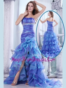 Lovely Column Sweetheart High Low Beading and Ruffled Layers Prom Dresses