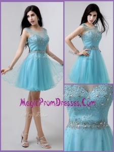 Lovely Short Scoop Open Back Prom Dresses with Beading